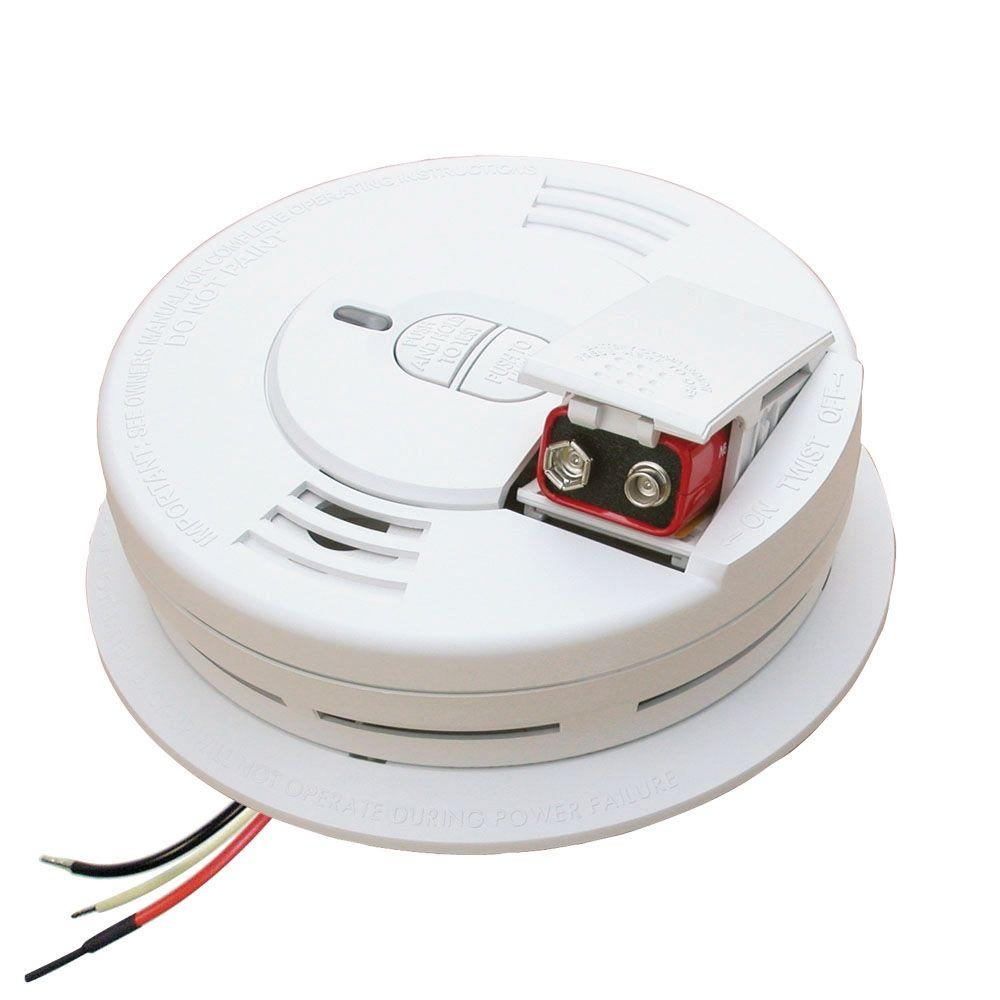 Hardwire Smoke Detector with 9V Battery Backup, Ionization Sensor, and 2-button
