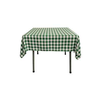 52 in. x 52 in. White and Hunter Green Polyester Gingham Checkered Square Tablecloth