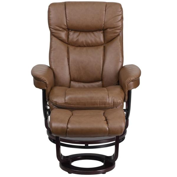 Flash Furniture Contemporary Palomino Leather Recliner and Ottoman with