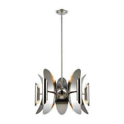 Stellar Space 10-Light Polished Nickel and Stainless Steel Chandelier