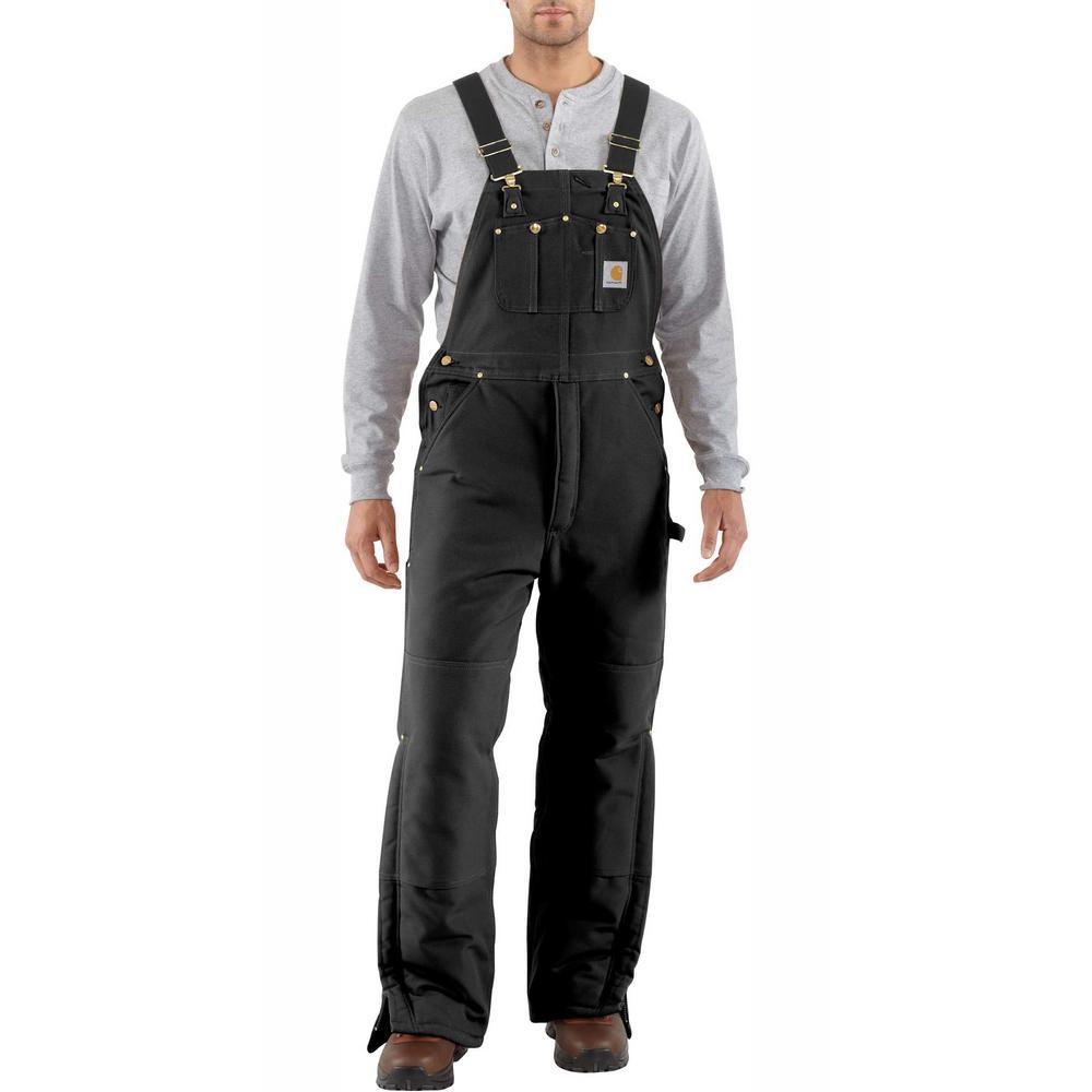 89d4672cba Men'S 42 in x 30 in. Black Cotton Arctic Quilt Lined Duck Bib Overalls