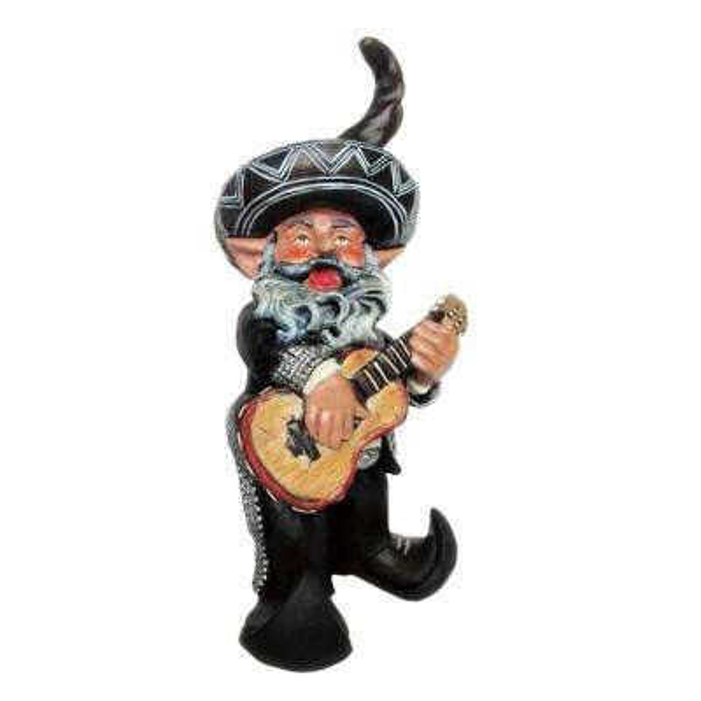 14 in. H La Fiesta Mariachi Latin Gnome Playing His Guitar Home and Garden Gnome Statue