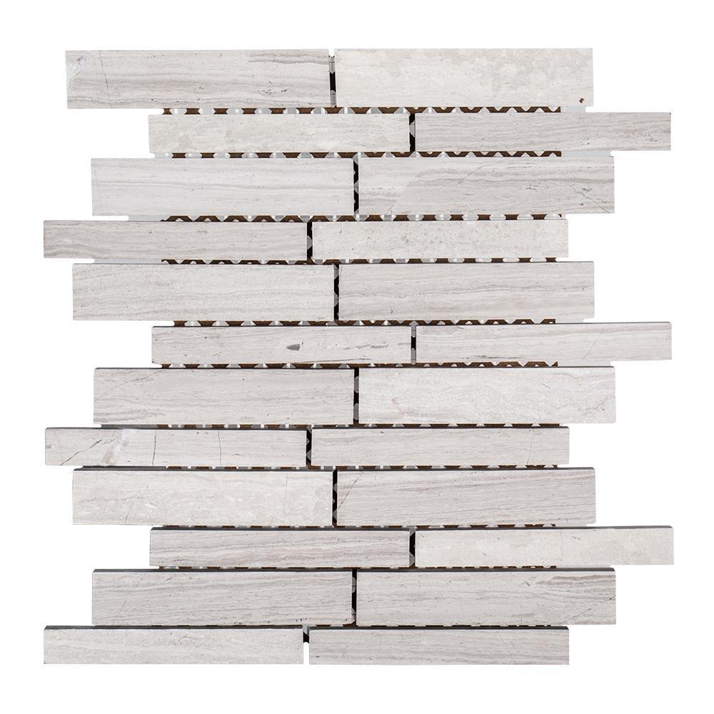 Walden Gray 10 in. x 12 in. Interlocking Limestone Mosaic Tile (0.833 sq. ft./Each)