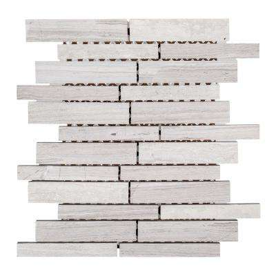 Walden Gray 10 in. x 11.875 in. x 8 mm Interlocking Textured Limestone Mosaic Tile
