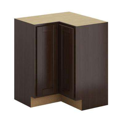 Hampton Bay Princeton Shaker Assembled 28.5x34.5x28.5 inch Lazy Susan Corner Base Cabinet in Java by Hampton Bay