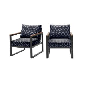 West Park Black Aluminum Outdoor Patio Lounge Chair with CushionGuard Midnight Trellis Navy Blue Cushions (2-Pack)