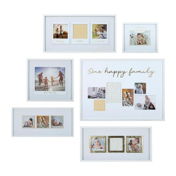 One Happy Family White and Gold Picture Frame (Set of 6)
