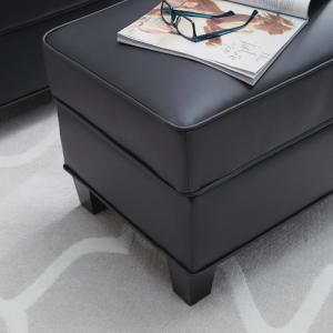 Terrific Homestyles Taylor Black Faux Leather Ottoman 5207 90 The Bralicious Painted Fabric Chair Ideas Braliciousco