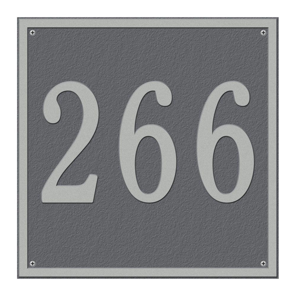 Whitehall Products Square Estate Wall 1-Line Address Plaque - Pewter/Silver