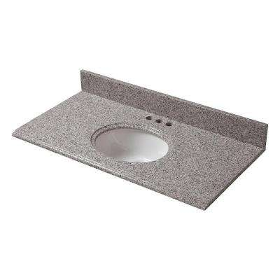 25 in. x 19 in. Granite Vanity Top in Napoli with White Bowl and 4 in. Faucet Spread