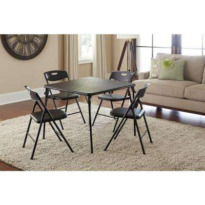 5-Piece Black Folding and Chair Set