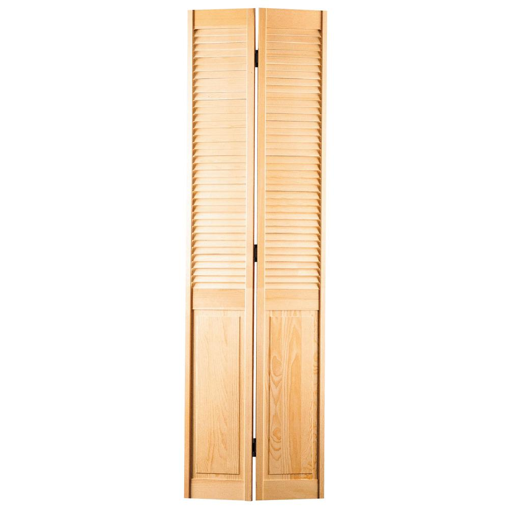 Masonite 24 In X 80 In Half Louvered Unfinished Hollow Core Pine Bi Fold Door