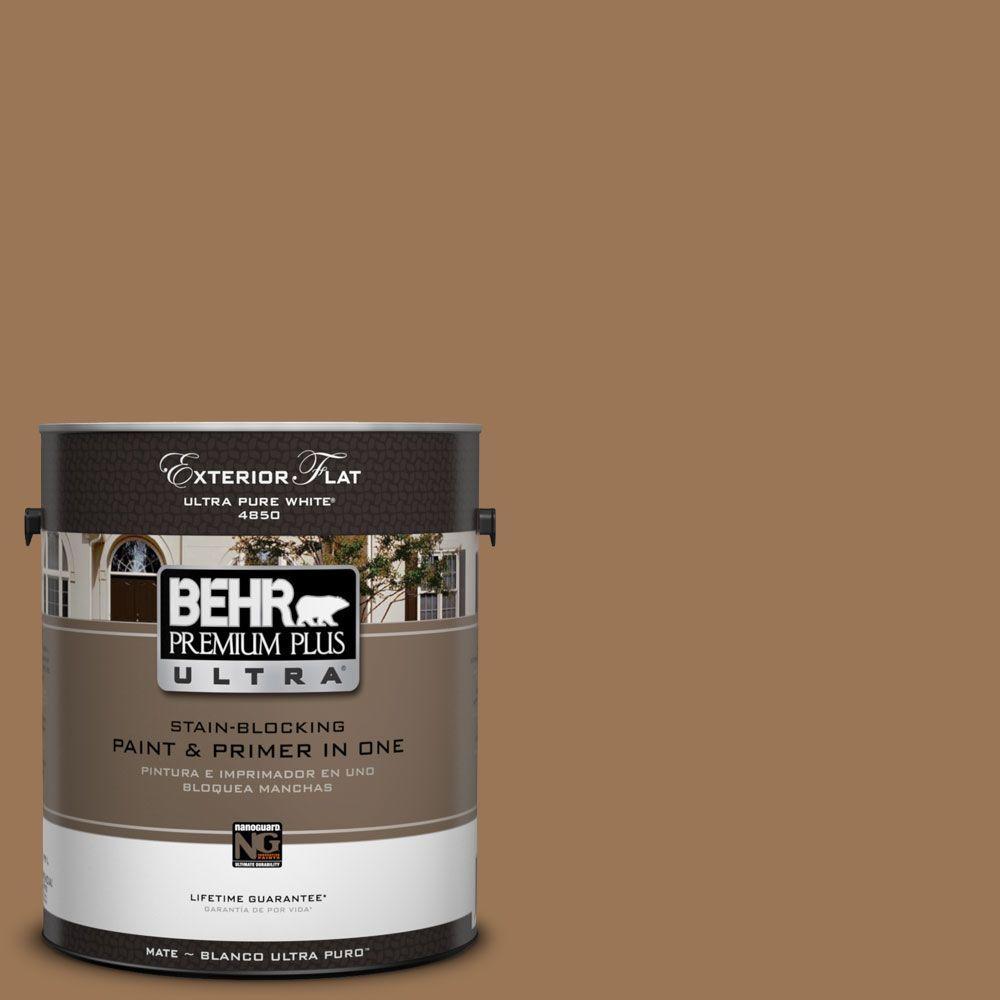 BEHR Premium Plus Ultra 1-Gal. #UL130-5 Coco Rum Flat Exterior Paint