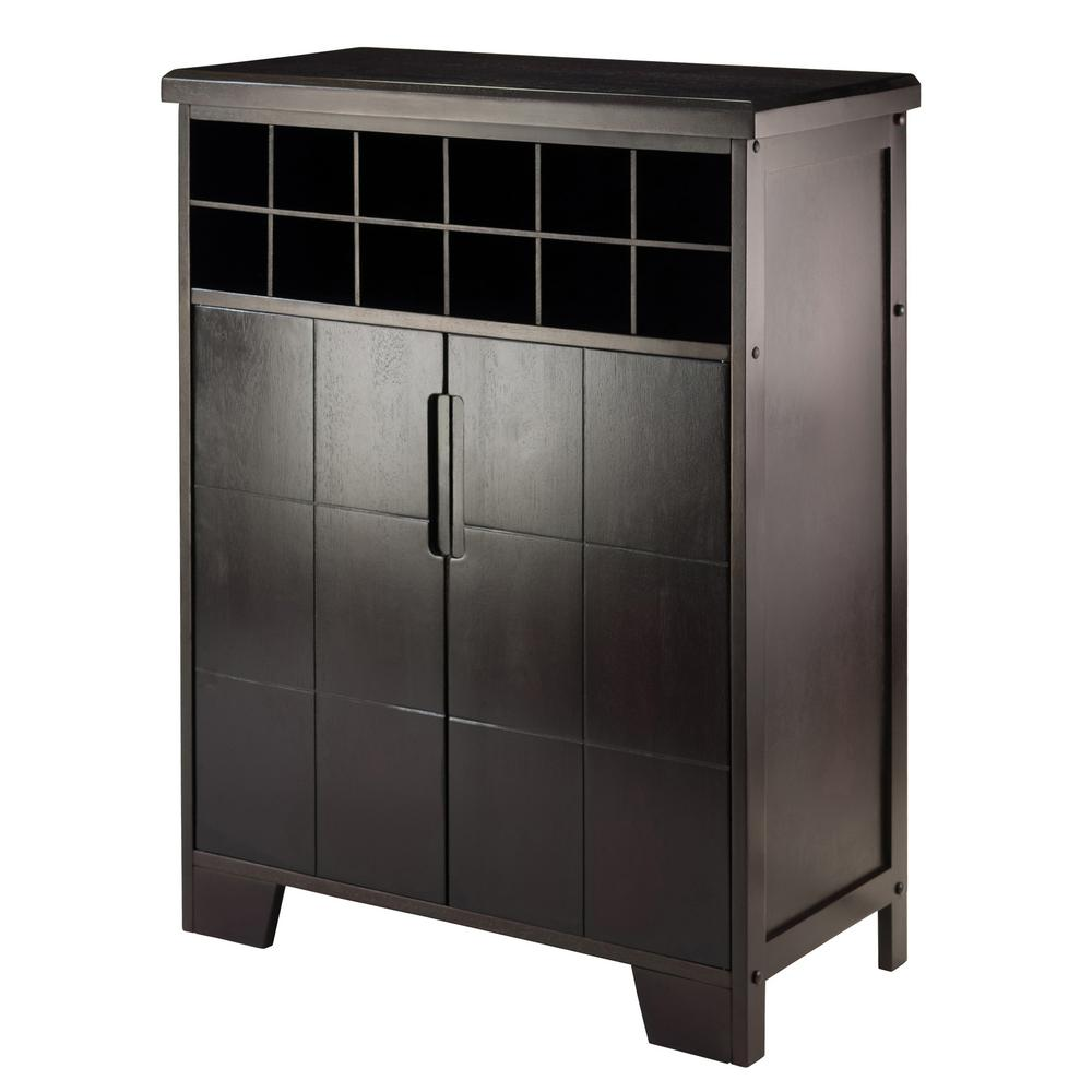 Winsome wood espresso bar cabinet 92632 the home depot for 16 bottle wine cabinet with glass door espresso