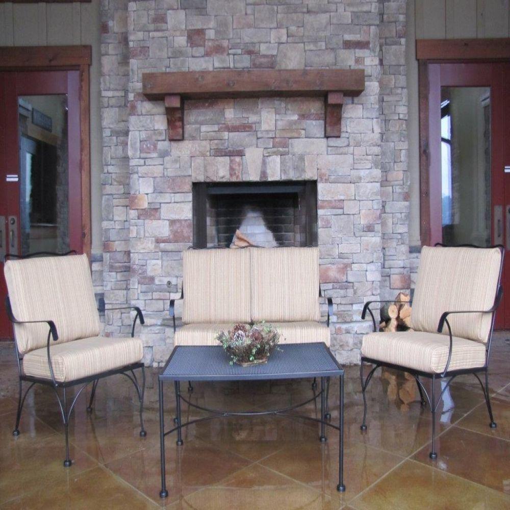 Arlington House Jackson 4-Piece Patio Conversation Set with Tan Stripe Cushions
