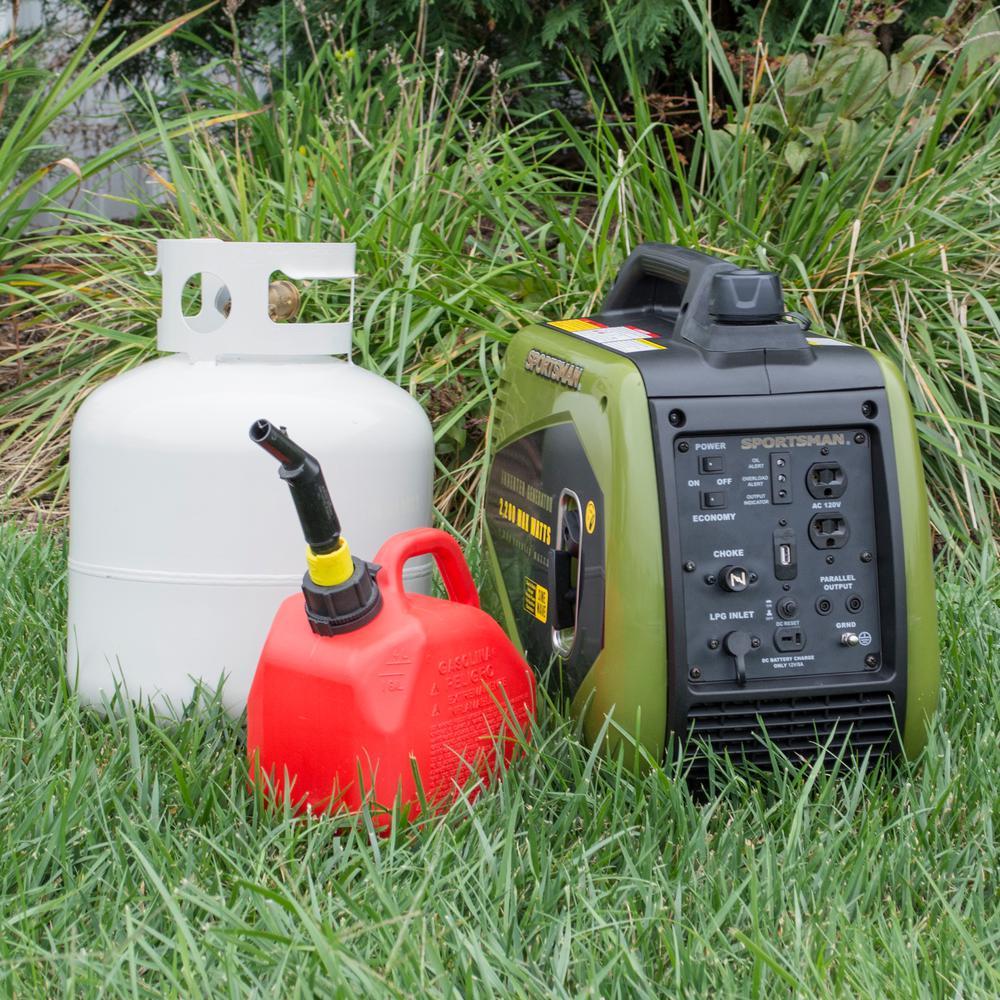 2,200/1,800-watt Dual Fuel LPG/Gasoline Powered Recoil Start Portable Inverter Generator with Parallel Capacity