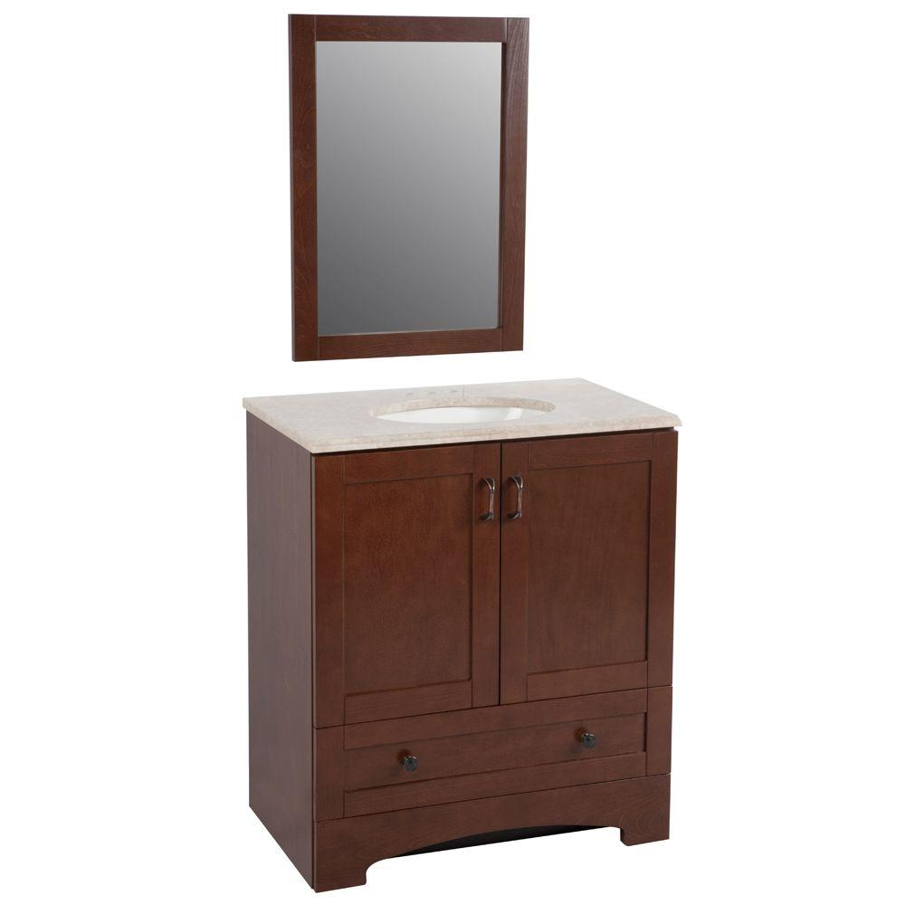 Glacier Bay Shaker 30 in. Vanity in Auburn with Stone Effects Vanity Top in Oasis and Mirror