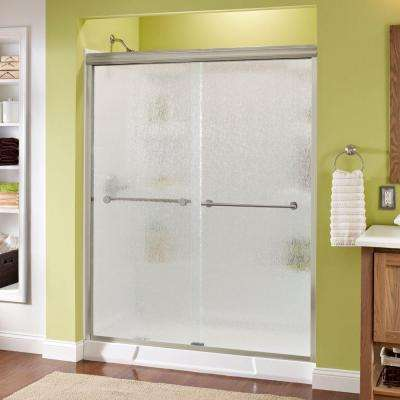 Panache 60 in. x 70 in. Semi-Frameless Sliding Shower Door in Brushed Nickel with Rain Glass
