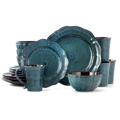 Lavish Blue 16-Piece Blue Stoneware Dinnerware Set (Service for 4)