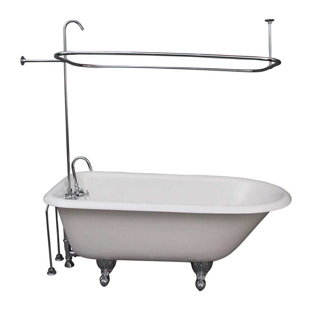 Barclay Products 5 Ft Cast Iron Ball And Claw Feet Roll Top Tub In White