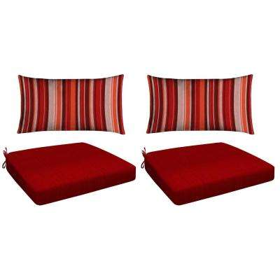 Red 4-Piece Outdoor Premium Dining Chair Cushion Set