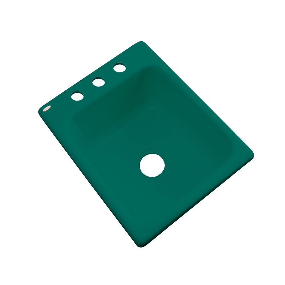 Thermocast Crisfield Drop-In Acrylic 17 in. 3-Hole Single Bowl Prep Sink in Verde