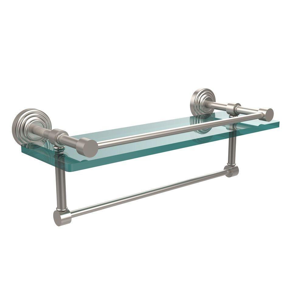 16 in. L  x 5 in. H  x 5 in. W Clear Glass Bathroom Shelf with Towel Bar in Satin Nickel