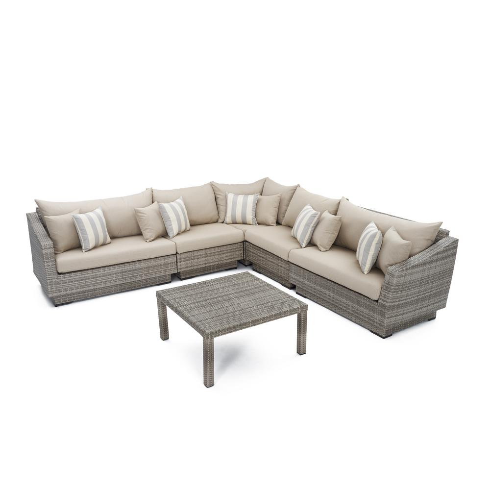 RST Brands Cannes 6-Piece Patio Sectional Seating Set with Slate Grey Cushions