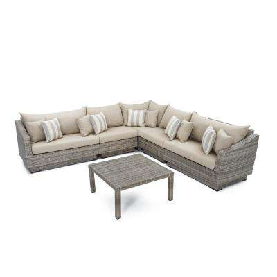 Cannes 6-Piece Patio Sectional Seating Set with Slate Grey Cushions
