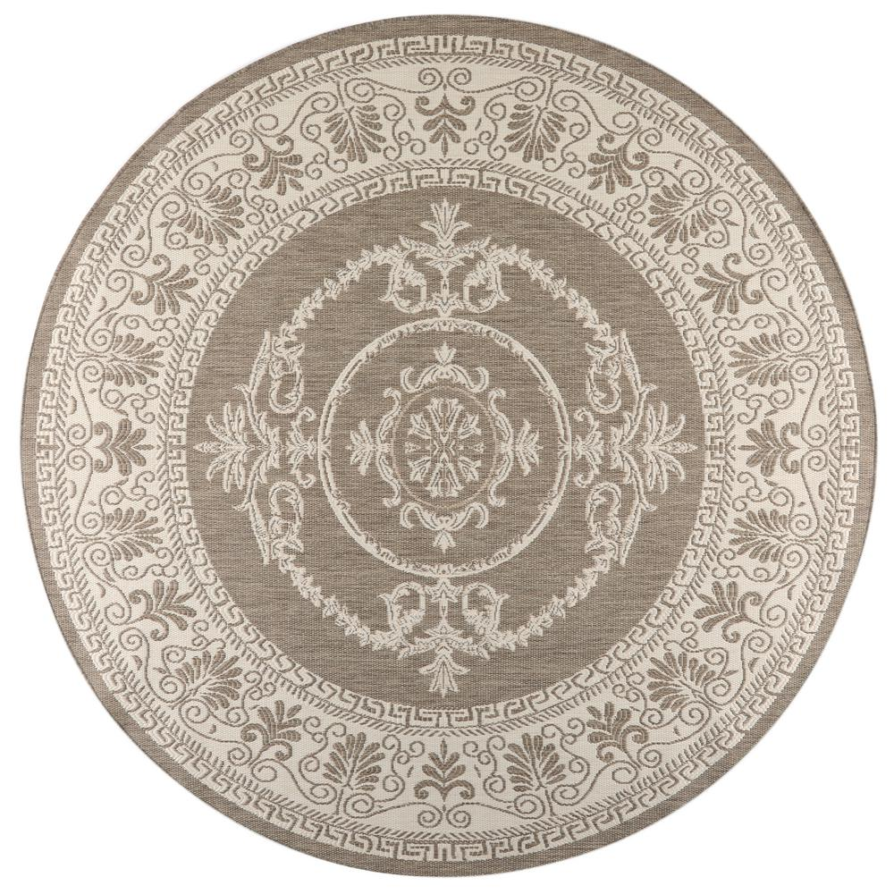 Vintage Circular Rug: Home Decorators Collection Antique Medallion Grey/White 8