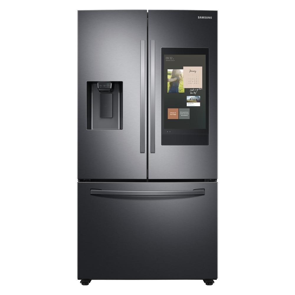 Samsung 26.5 cu. ft. Family Hub French Door Smart Refrigerator in Fingerprint Resistant Black Stainless Steel was $3299.0 now $2297.7 (30.0% off)