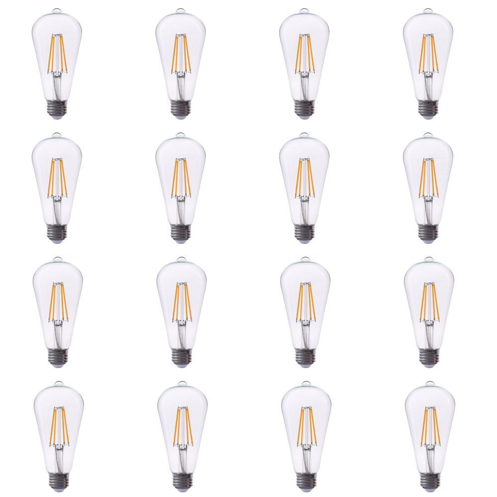 40-Watt Equivalent ST19 Dimmable Filament Glass LED Light Bulb Warm White 2700K (12-Pack)