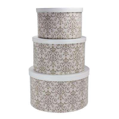 15 in. W x 8.75 in. H Hat Box with White Faux Leather Lids and Scroll Design (Set of 3)