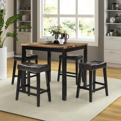5-Piece Brown Modern Square Upholstered Dining Set