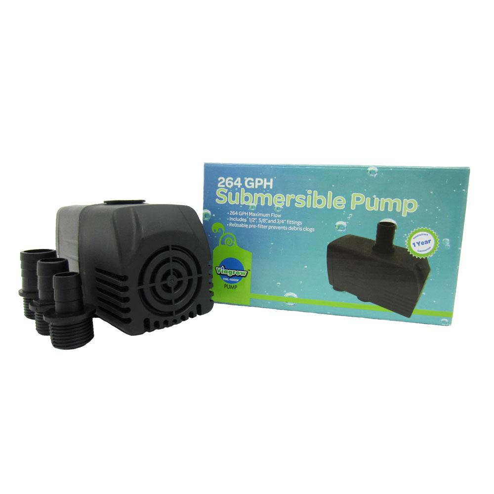 Viagrow 264 GHP Hydroponic, Fountain and Pond Submersible Pump