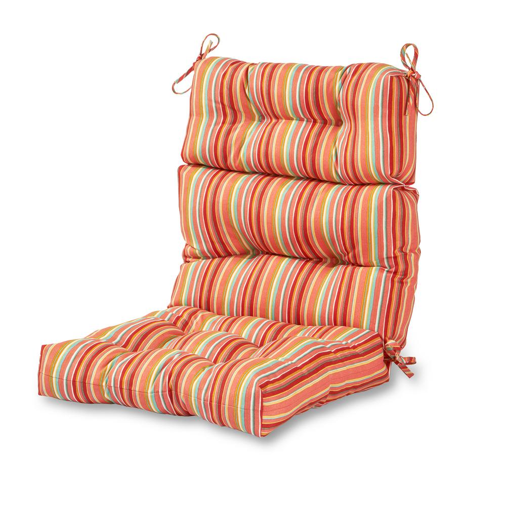 Watermelon Stripe Outdoor High Back Dining Chair Cushion
