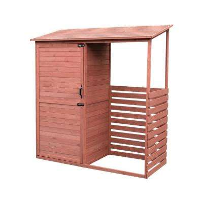 69 in. W x 29 in. D x 72 in. H Medium Brown Cypress Combination Firewood and Storage Shed