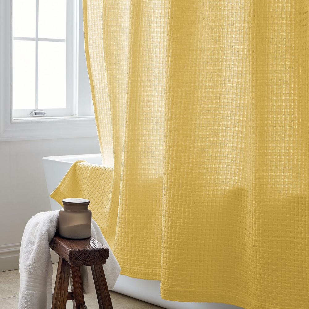 Basket Weave 72 in. Buttercream Shower Curtain