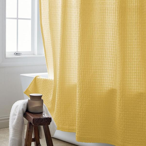 The Company Store Basket Weave 72 in. Buttercream Shower Curtain