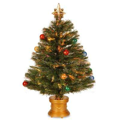 2.6 ft. Fiber Optic Fireworks Artificial Christmas Tree with Ball Ornaments