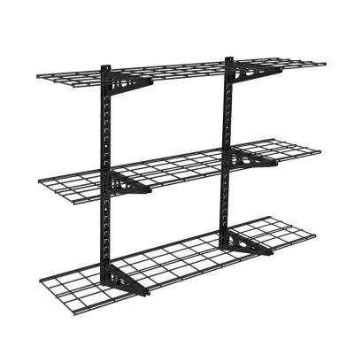 WS14B 12 in. x 48 in. Black Adjustable Steel Wall Shelves with Brackets