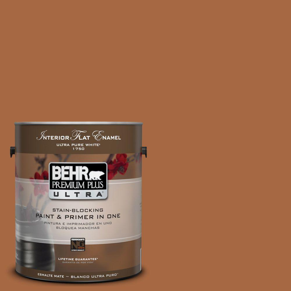 BEHR Premium Plus Ultra 1-Gal. #UL120-5 Maple Glaze Interior Flat Enamel Paint