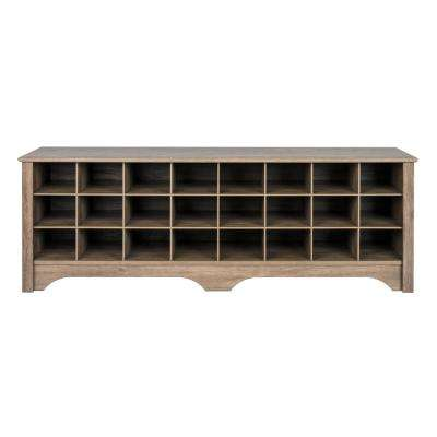 60 in. Drifted Gray Shoe Cubby Bench