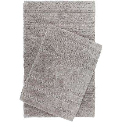 Newton Gray Stripes 2-Piece (17 in. x 24 in.; 21 in. x 34 in.) Bath Mat Set