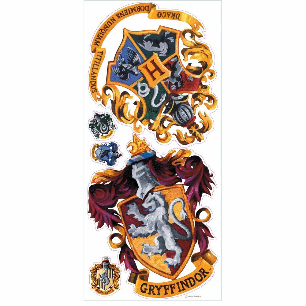 RoomMates 5 in. x 19 in. Harry Potter Crest Peel and Stick Giant Wall Decal (5-Piece)