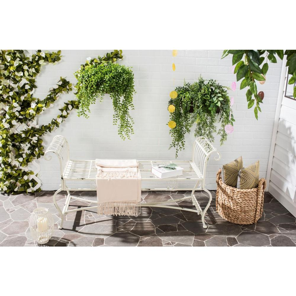 Brielle Outdoor Iron Patio Bench In Antique White