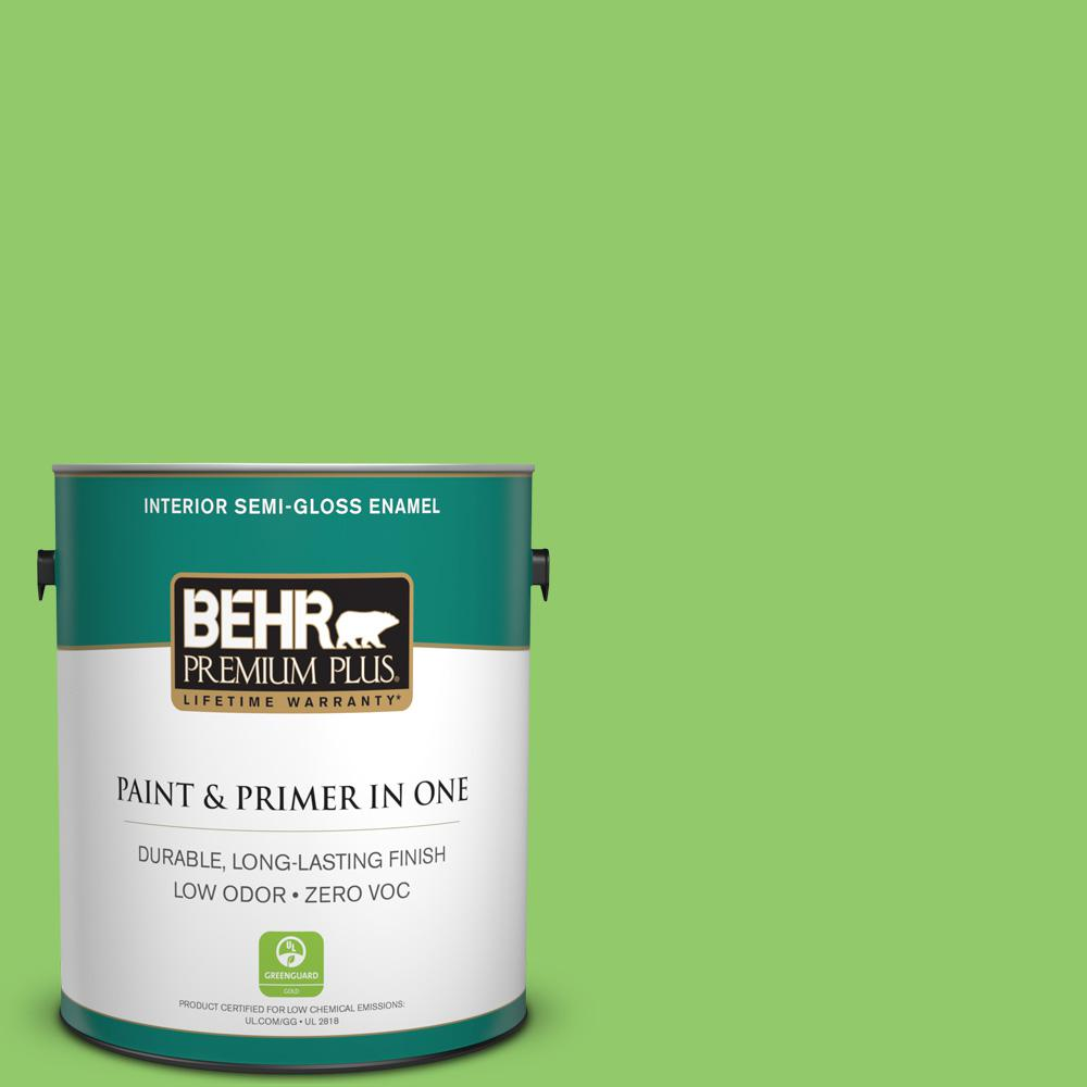 BEHR Premium Plus 1 gal. #380A-3 Summer Harvest Semi-Gloss Enamel ...