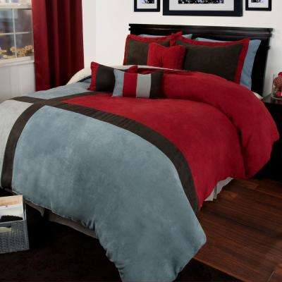 Rhea Suede 7-Piece Red Queen Comforter Set