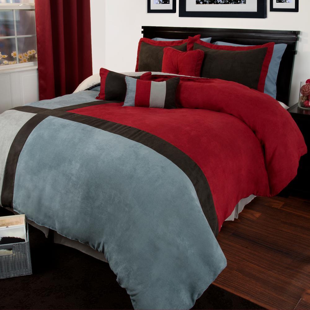 Lavish Home Rhea Suede 7 Piece Red Queen Comforter Set 66 0081 Q