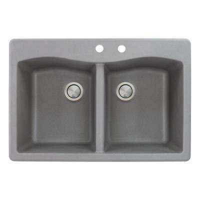 Aversa Drop-in Granite 33 in. 2-Hole Equal Double Bowl Kitchen Sink in Grey
